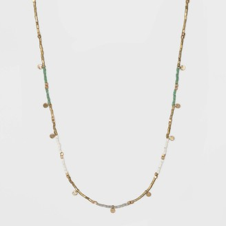 Universal Thread Color Blocked Seed Beaded and Disc Station Necklace - Universal ThreadTM
