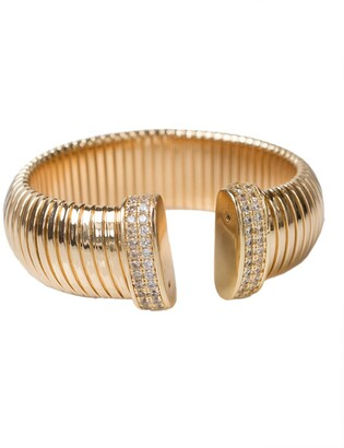 Cz By Kenneth Jay Lane 14K Gold Plated Coil Flexi Open Cuff Bracelet