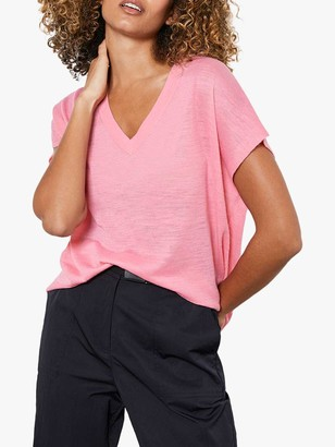 Mint Velvet Linen Blend Knitted Top, Pink