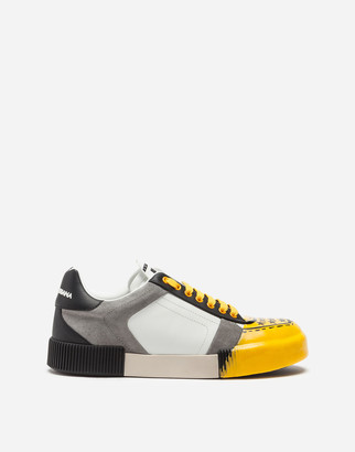 Dolce & Gabbana Miami Sneakers In Two-Tone Calfskin Nappa