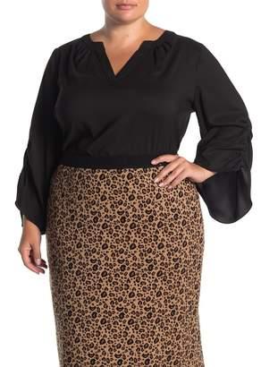 T Tahari Split Neck Woven Blouse (Plus Size)