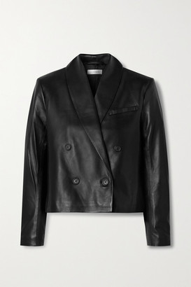Anine Bing Mae Double-breasted Leather Blazer - Black