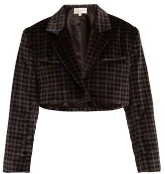 Isa Arfen Tartan-checked Cotton-velvet Cropped Jacket - Grey Multi
