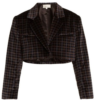 Isa Arfen Tartan-checked Cotton-velvet Cropped Jacket - Womens - Grey Multi