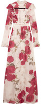 Giambattista Valli Lace-paneled Floral-print Silk-chiffon Gown - Red