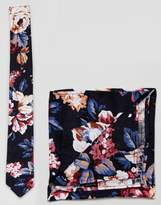 Moss Bros Tie And Pocket Square Set In Floral Print