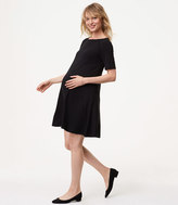 LOFT Petite Maternity Covered Button Swing Dress