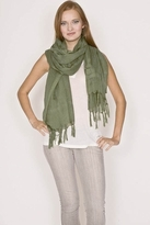 LoveQuotes Scarves Love Quotes Linen Knotted Fringe Scarf in Pesto