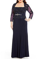 Terani Couture Plus 3/4 Sleeve Length Bead-Embroidered Gown