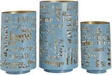 Asstd National Brand Set of 3 Teal Sentiment Luminaries Candle Holders