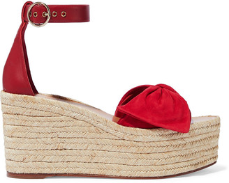 Valentino Bow-embellished Suede And Leather Platform Espadrille Sandals