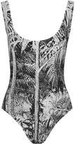 Norma Kamali Super Low Back Mio Printed Swimsuit