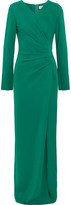 Lanvin Gathered Stretch-crepe Gown - Green