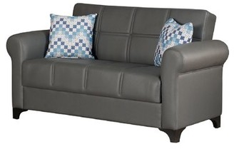 """Charlton Home Pantoja Loveseat Faux Leather Convetible 62"""" Round Arm Loveseat Sofa Bed Fabric: Gray"""