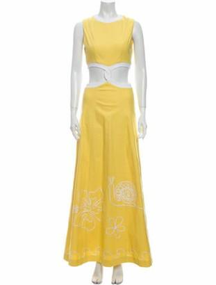 STAUD Crew Neck Long Dress w/ Tags Yellow