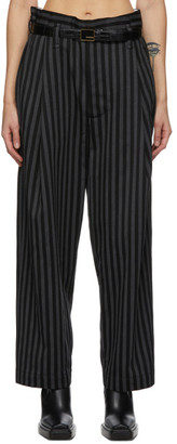 Meryll Rogge Black and Grey Wool Striped Trousers