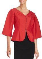 Oscar de la Renta Pleated Kimono Sleeve Jacket