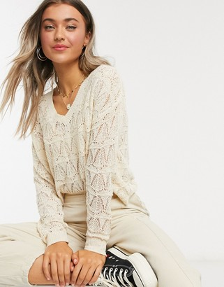JDY jumper with v-neck in open stitch in cream