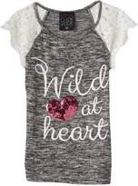 """Miss Chievous Girls 7-16 Wild at Heart"""" Sequin Heart Crochet Lace Sleeve Knit Top"""