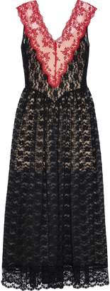 Christopher Kane Gathered Two-tone Lace Maxi Dress
