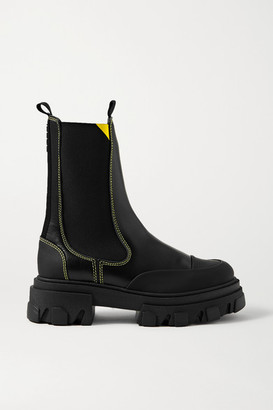 Ganni Rubber-trimmed Leather Chelsea Boots - Black