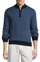 Peter Millar Sueded-Trim Quarter-Zip Sweater, Navy