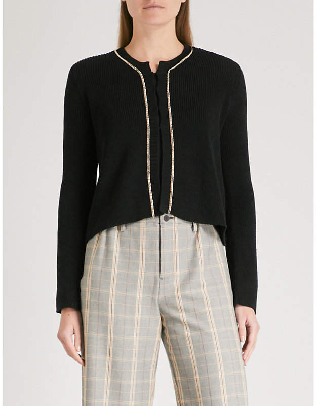 Maje Meridien chain-embellished knitted cardigan