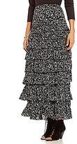 Chelsea & Theodore Black & White Printed Ruffle Maxi Skirt