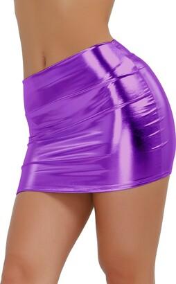 Agoky Sexy Women's PVC Metallic Leather Bodycon Mini Skirts Pencil Party Dress Clubwear Purple One Size