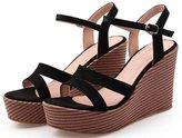 ACE SHOCK Women's Leather Shiny Gladiator Platform High Heels Wedges Casual Sandals (5.5, )