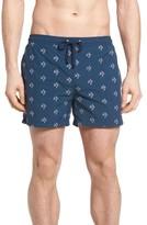 BOSS Men's White Shark Embroidered Swim Trunks