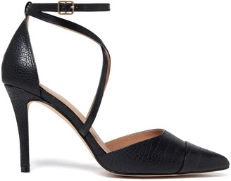Forever New Emily Pointed Cross Strap Court Heels - Black Croc - 41