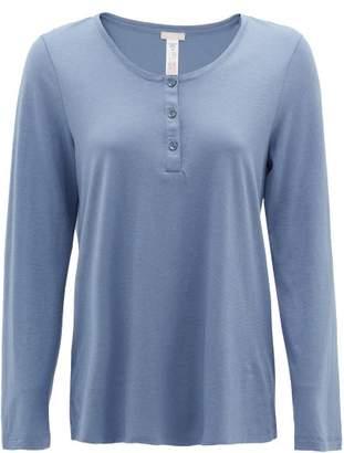 Hanro Buttoned Cotton-blend Jersey Pyjama Top - Womens - Blue