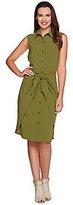 C. Wonder Tie Front Sleeveless Button Down Shirt Dress