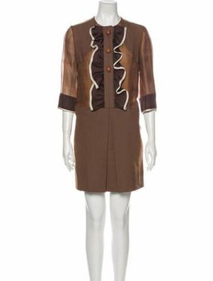 Chloé Linen Mini Dress Brown