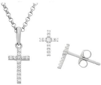 Silver Cross FINE JEWELRY White Cubic Zirconia Sterling 2-pc. Jewelry Set