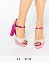 Terry De Havilland Coco Pink Glitter Platform Heeled Sandals