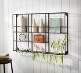 Pottery Barn Wall Shelf Unit with Glass Rack