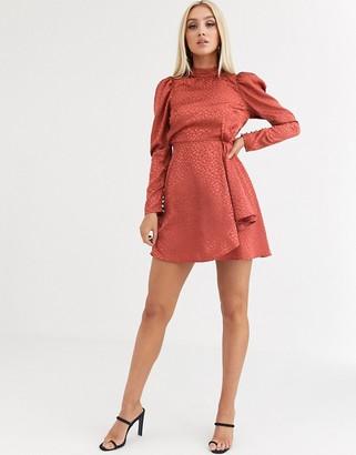 Asos DESIGN high neck jacquard mini dress in rust