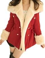 Lettre d'amour Women's Casual Loose Button Parkas With Fur L