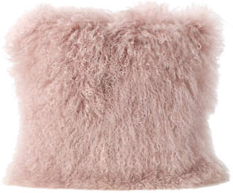 Gdfstudio GDF Studio Marybelle Shaggy Lamb Fur Square Throw Pillow, Rose, Large,