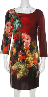 Just Cavalli Multicolor Floral and Fruit Print Stretch Crepe Dress S