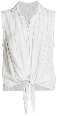 Bella Dahl Tie-Front Fringed Sleeveless Blouse