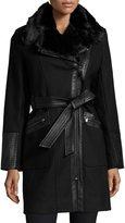 Via Spiga Wool-Blend Asymmetric-Zip Belted Coat, Black