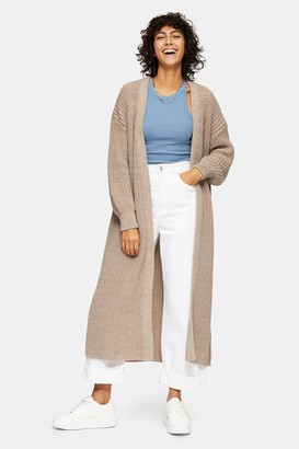 Topshop Womens Stone Maxi Cardigan - Stone