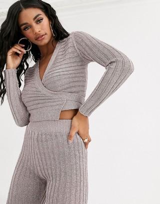 Asos Design DESIGN metallic knit wrap front crop sweater