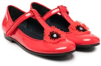Charabia Floral Touch-Strap Ballerinas
