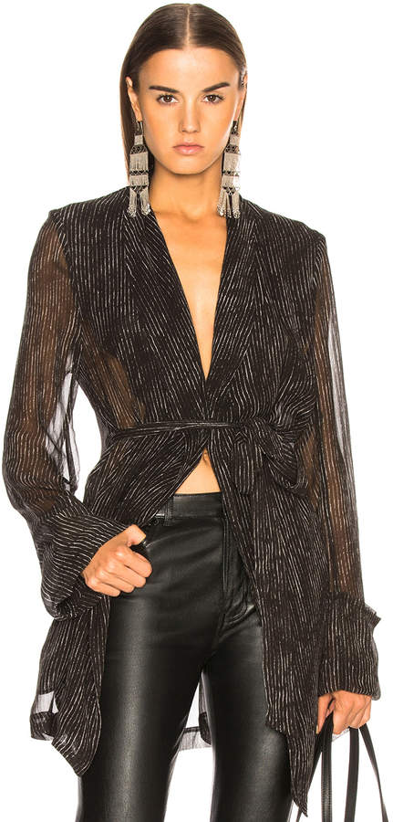 Ann Demeulemeester Pinstriped Sheer Sleeve Coat