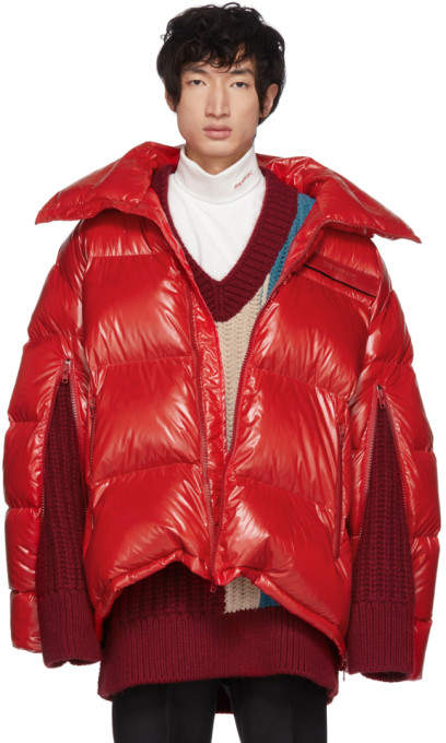 Calvin Klein Red Down Oversized Jacket