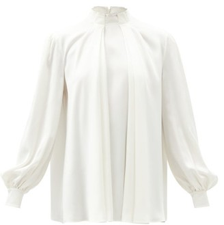 Alexander McQueen High-neck Pleated Silk-satin Blouse - Ivory